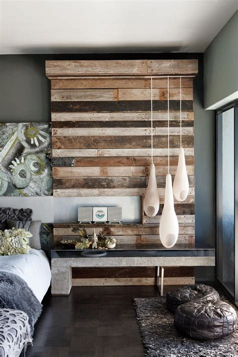 repurposed wood wall reclaimed wood into textured modern rustic wall feature smart how lights are integrated this