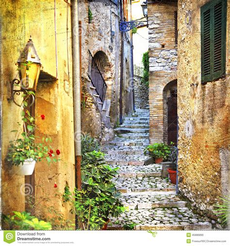 charming  streets  mediterranean villages stock photo