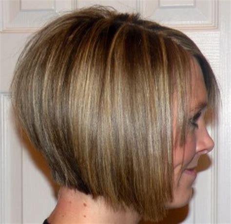 short a line hair styles womens short a line haircut golden blonde and dark brown