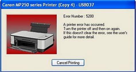 reset printer mp258 error p07 how to fix canon mp258 error 5200 pctechnotes pc tips