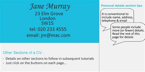 cv writing tutorial personal details succeed