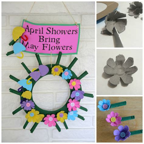 recycled craft april showers bring may flowers clothespin
