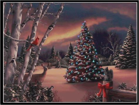tree in forest w animals lighted christmas canvas 3111354
