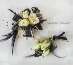 prom corsages and boutonnieres of floral designs black and gold corsage and boutonniere our work prom flowers