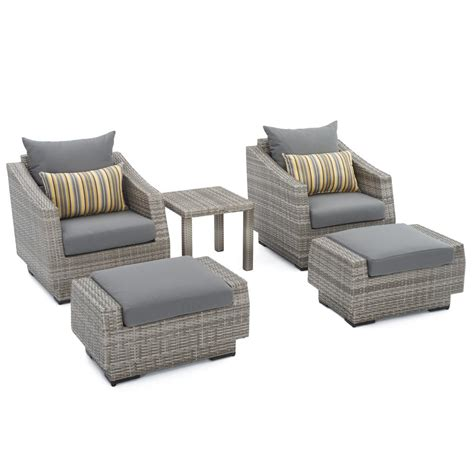 Patio Chair And Ottoman Rst Brands Cannes 5 Wicker Patio Club Chair And Ottoman Set With Charcoal Grey Cushions Op