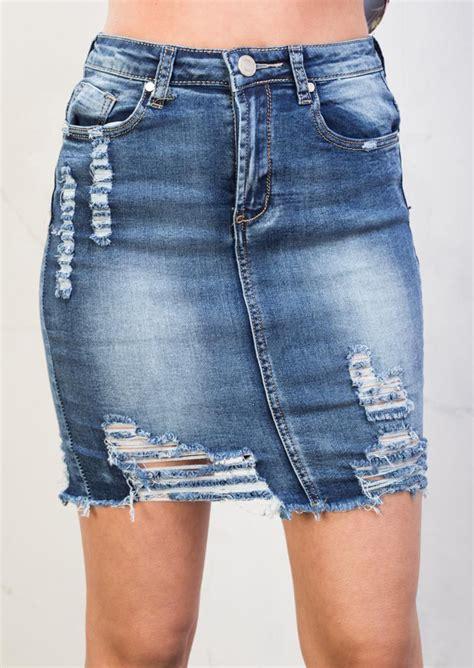 Ripped Denim Mini Skirt ripped mini bodycon denim skirt blue