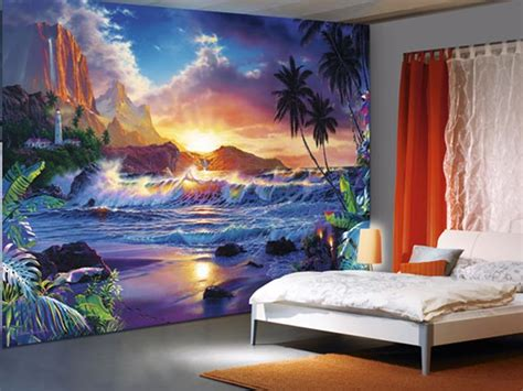 beach murals for bedrooms beachy scene wall murals of paradise brewster home