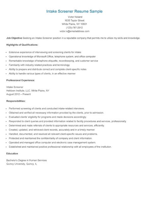 Resume With Cases Handled Resume Sles Intake Screener Resume Sle