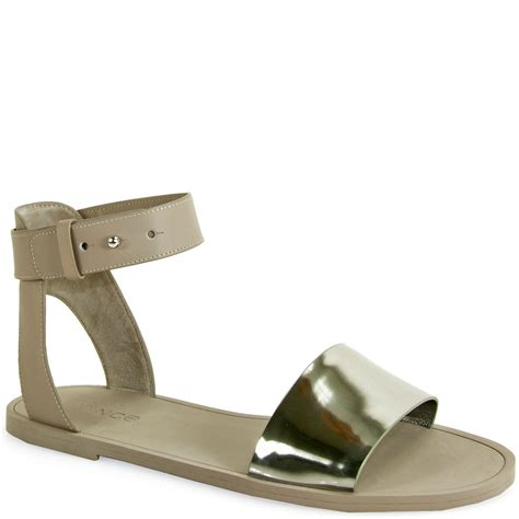 ankle wrap sandal vince sawyer ankle wrap sandal in silver pewter lyst