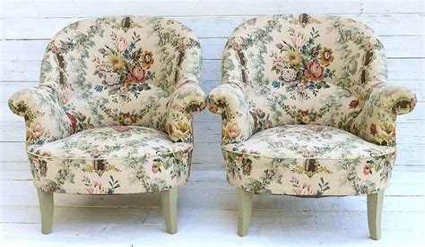 chintz armchair pair of french fauteuil armchairs country cottage chintz