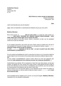 Exemple gratuit de Lettre réclamation et demande réduction
