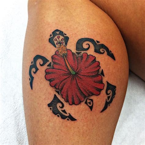 black tortoise tattoo hawaiian flower turtle design for leg calf
