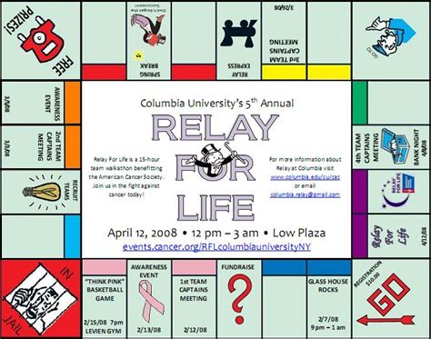 monopoly themed events columbia university relay for life events calendar how