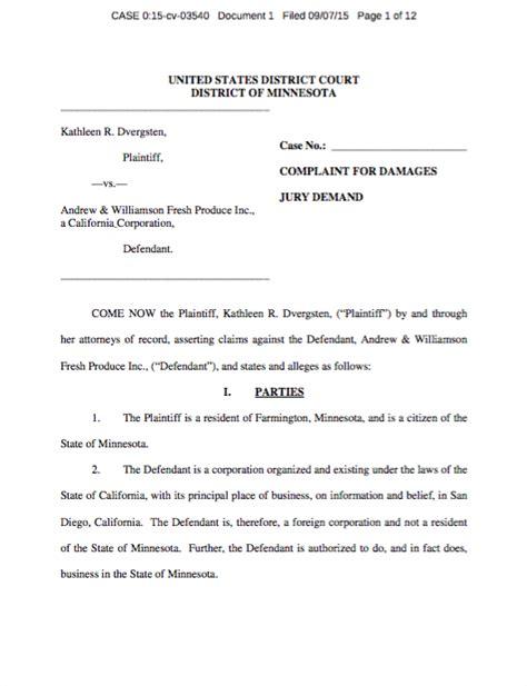 Minnesota Federal Court Search Salmonella Cucumber Lawsuit Filed In Minnesota Federal Court Marler