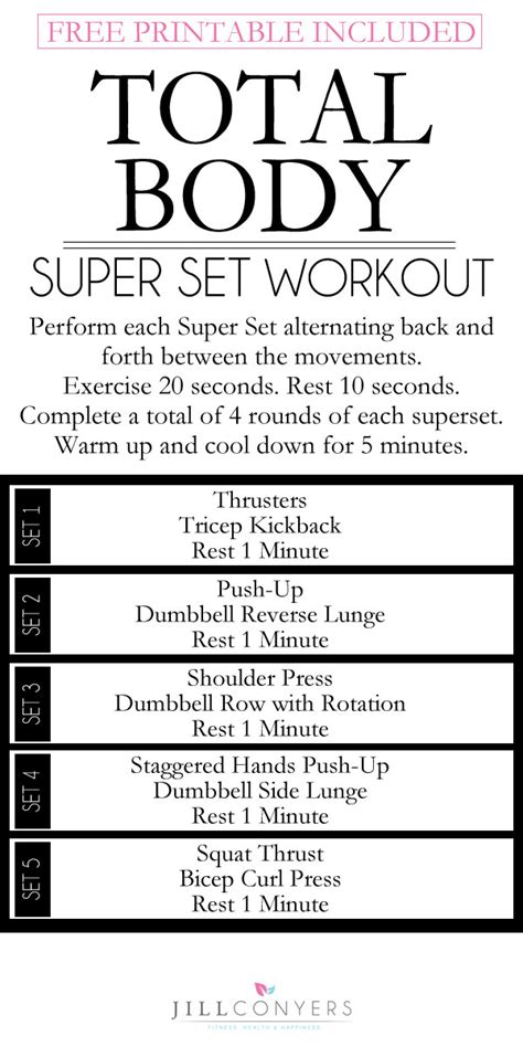 printable iron strength workout total body strength and tone super set workout jill conyers