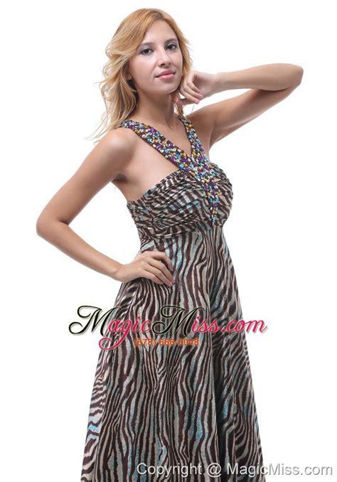beautiful zebra beaded decorate straps v neck prom evening dress for custom made in gulfport