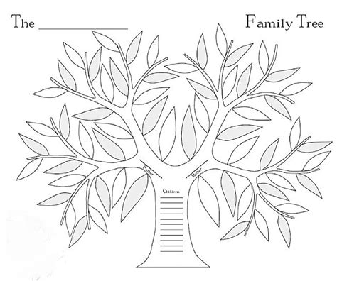 Family Tree Outline For Coloring Pages Family Tree Picture For Coloring