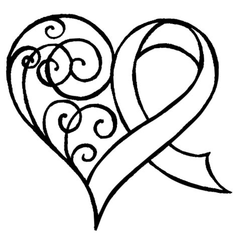 heart and ribbon tattoo cancer ribbon with swirls by metacharis on