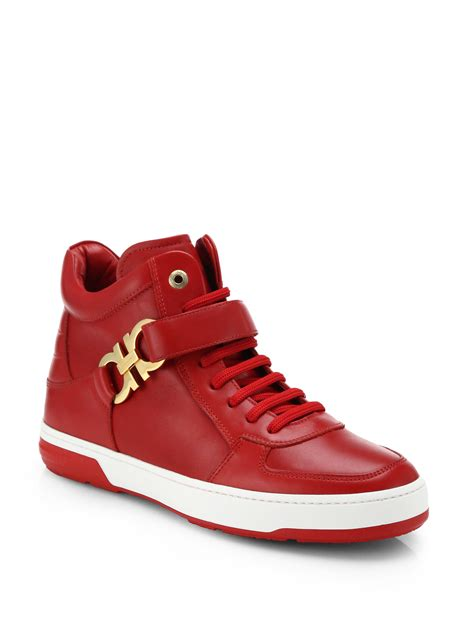 high top shoes for ferragamo nayon gancini leather high top sneakers in