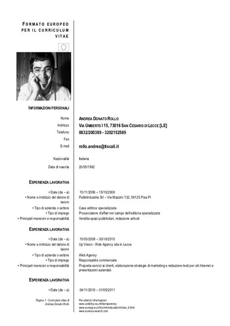 Modelo Curriculum Artistico Curriculum Vitae Andrea Rollo