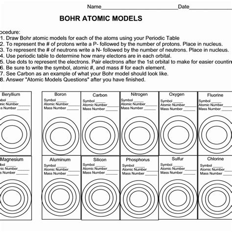 Atomic Models Worksheet Answers by Bohr Atomic Models Worksheet Answers Worksheet Resume
