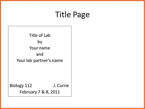 How To Build A Resume For A Job by Lab Report Title Page Sop Example