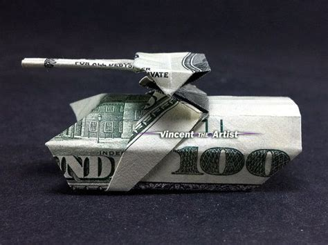 Tank Origami - money origami tank made with 100 bill p 233 nz
