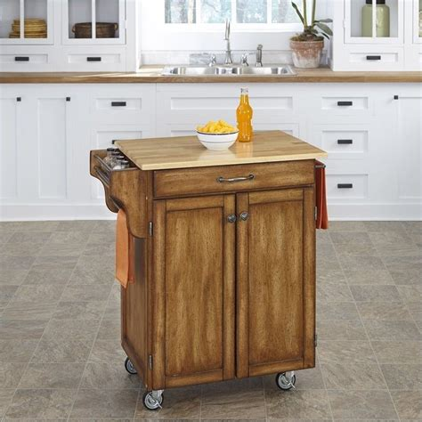 oak kitchen island cart home styles cottage oak kitchen cart with wood top small kitchen island with seating
