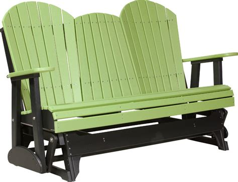 black glider bench 5 poly adirondack glider bench lime green and black