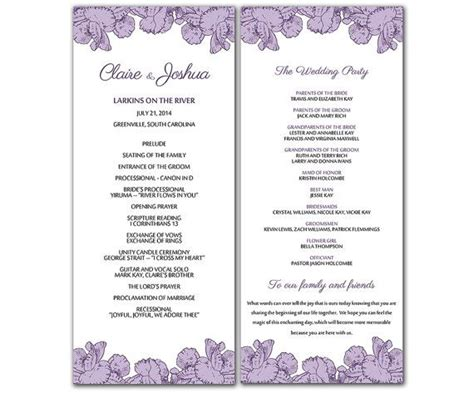 wedding program template word diy purple poppy flowers wedding program microsoft word