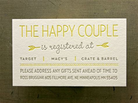 wedding gift registry cards templates registry cards for wedding etiquettes to follow