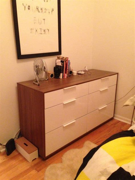 ikea white and wood dresser ikea nyvoll 6 drawer dresser white gloss wood