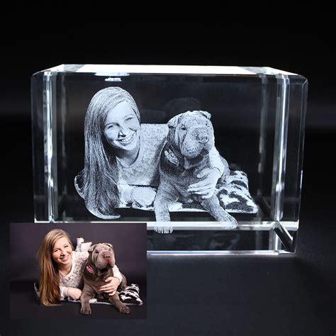 medium 3d photo cube unique personalised glass gift