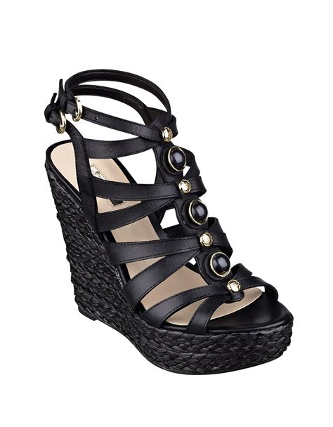 Guess Color Leather Black lyst guess onixx leather wedge sandals in black