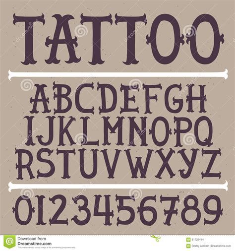 tattoo fonts old school alphabet vector font vector illustration