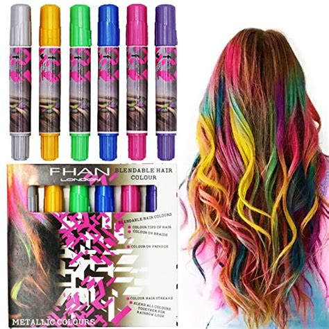 temporary hair color for sookoo 6 color hair chalk set metallic glitter temporary