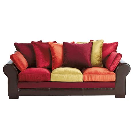 Velvet Leather Sofa 3 Seater Imitation Split Leather And Velvet Sofa