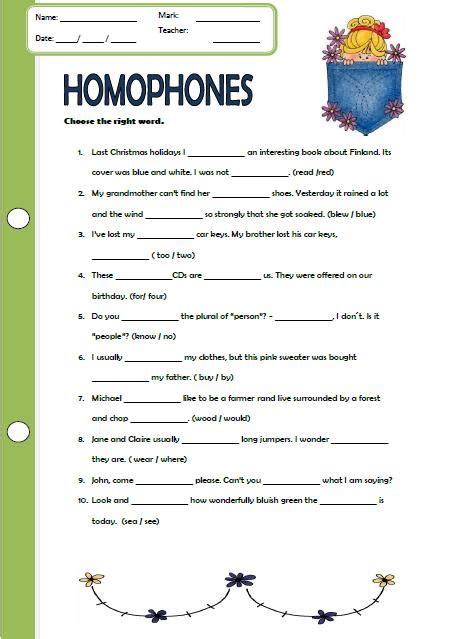 Homonym Worksheets by Homophones Worksheet