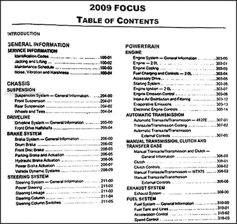 2009 ford focus repair shop manual original