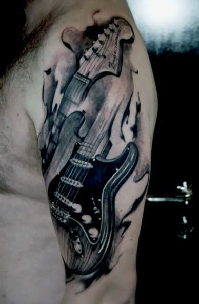 vintage style painted black and white guitar tattoo on
