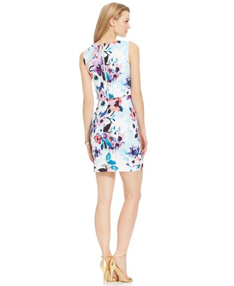 Branded Ivanka Scuba Floral Dress lyst ivanka floral print crepe sheath dress in blue