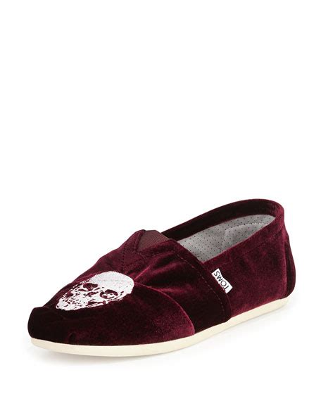 Embroidered Skull Slipper by Toms Embroidered Velvet Skull Slipper