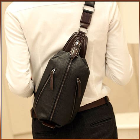 Sling Bag Fashion Murah 2in1 european style pu leather chest bag fashion sling bags chest pack sling pack bolsa masculina