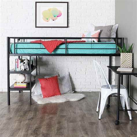 metal loft bed with desk and shelving metal bunk bed set loft toddler bedroom
