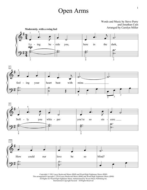 tutorial piano open arms open arms sheet music by carolyn miller educational piano