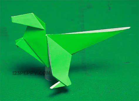 Simple Dinosaur Origami - how to make origami dinosaur 123peppy
