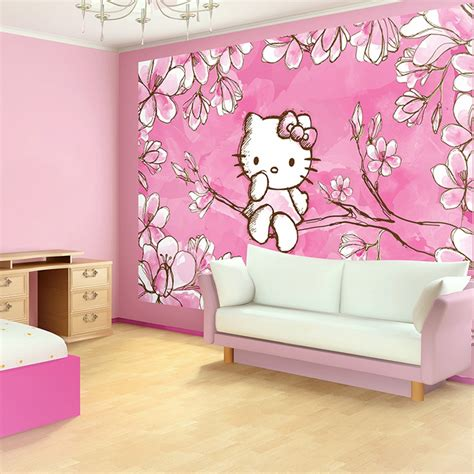 pink wallpaper decor pink wallpaper bedroom ideas with hello kitty bedroom