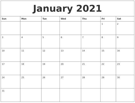 Calendar For January January 2021 Calendar