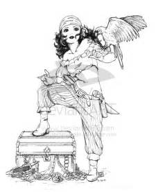 Pirate Pin Up Girl Tattoo Drawing Sketch Coloring Page sketch template
