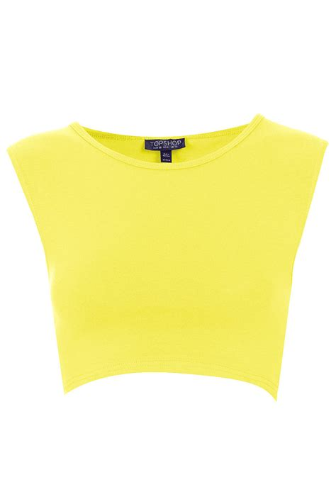 best yellow lyst topshop basic sleeveless crop top in yellow
